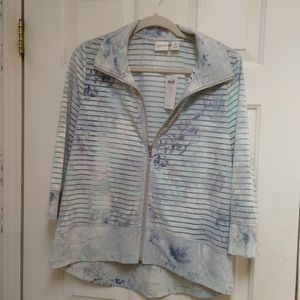 """NWT Zenergy """"Ana"""" by Chico's burnout zip front top"""